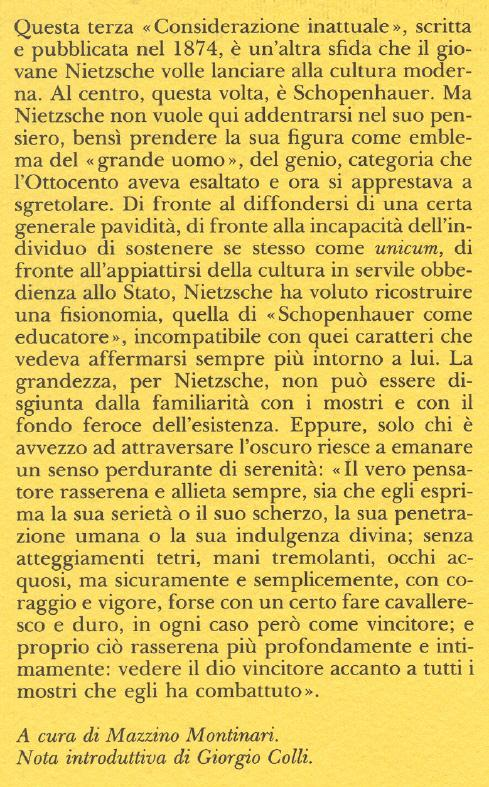 Schopenhauer come educatore.