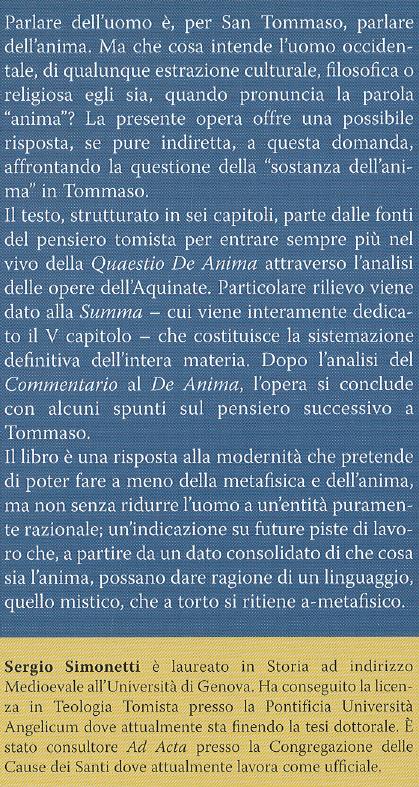 L'anima in san Tommaso d'Aquino.