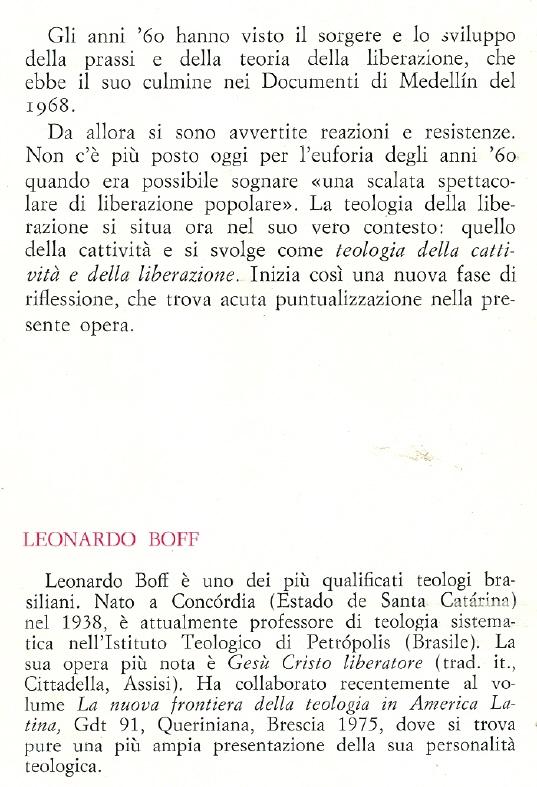 Teologia della cattività e della liberazione.