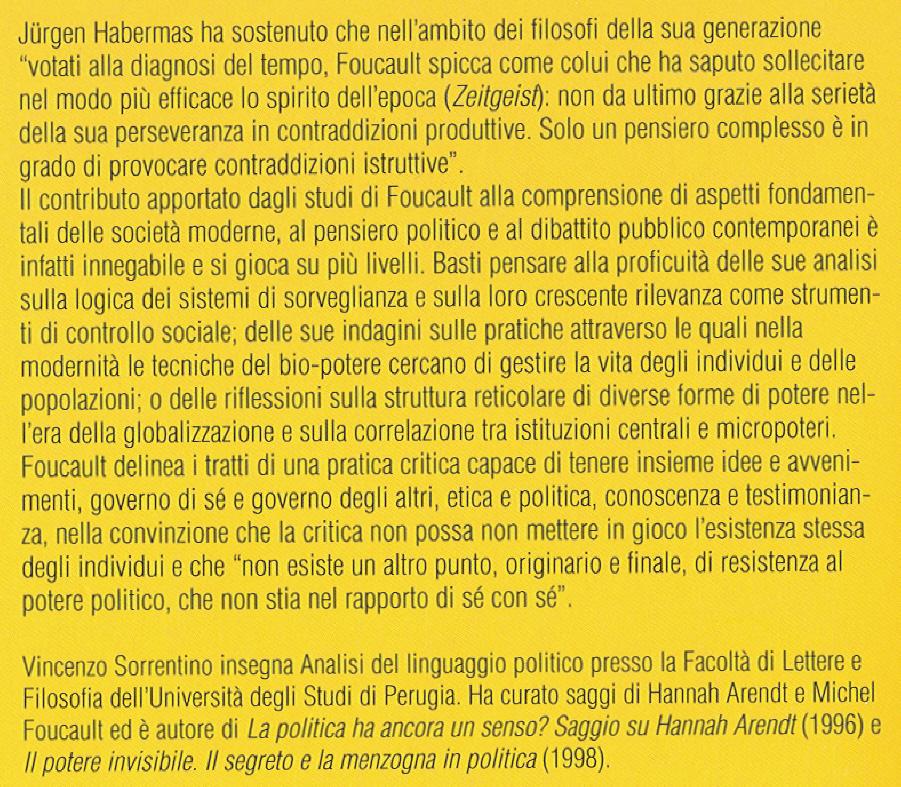 Il pensiero politico di Foucault.