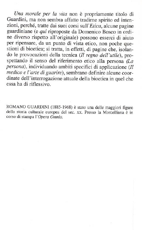 Opere di Romano Guardini. Una morale per la vita.