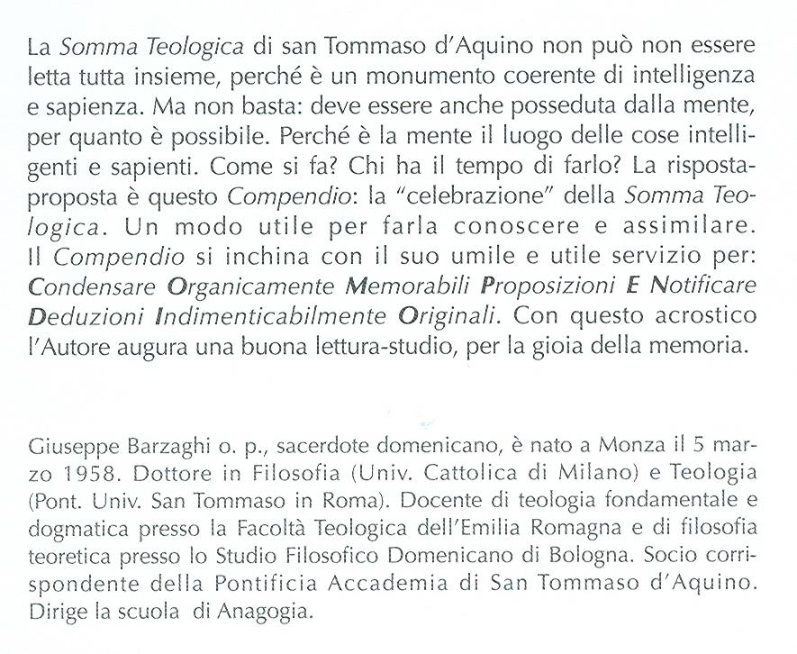 La Somma Teologica di San Tommaso d'Aquino, in compendio.