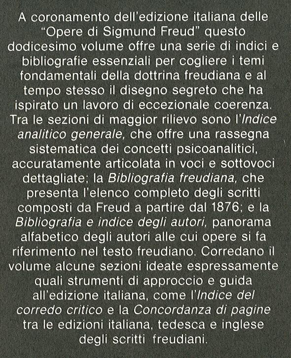 Opere di Sigmund Freud. 12: Indice e bibliografie delle opere di Sigmund Freud.