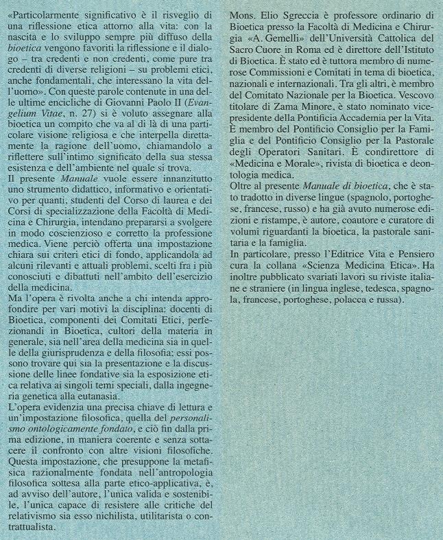 Manuale di bioetica. 1: Fondamenti ed etica biomedica.
