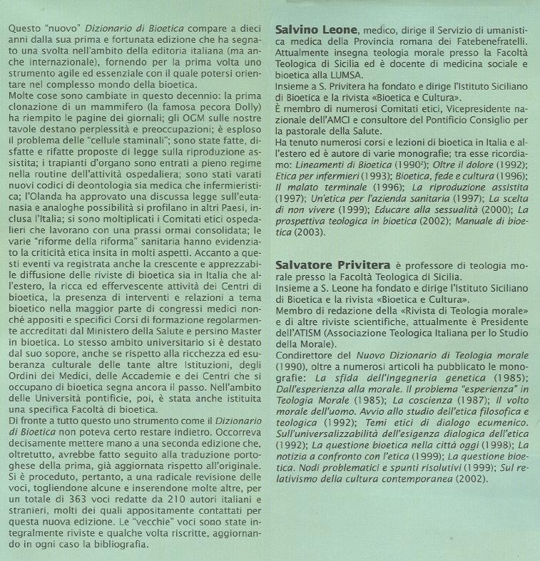 Nuovo dizionario di bioetica.