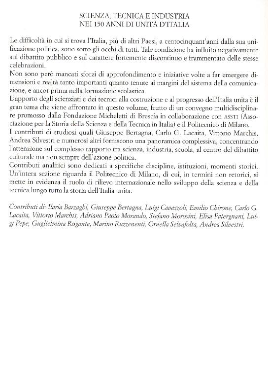 Scienza, tecnica e industria nei 150 anni di unità d'Italia.