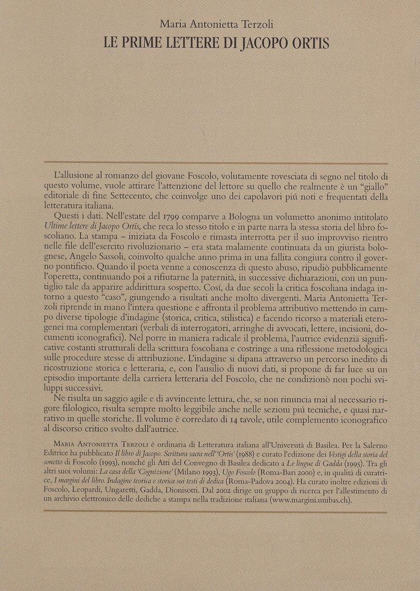 Le prime lettere di Jacopo Ortis.