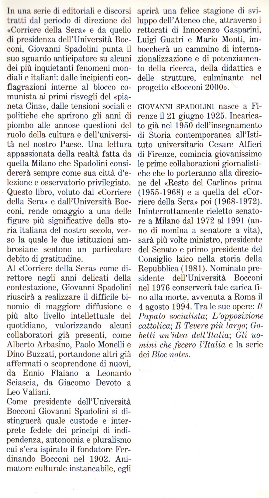 Spadolini a Milano.
