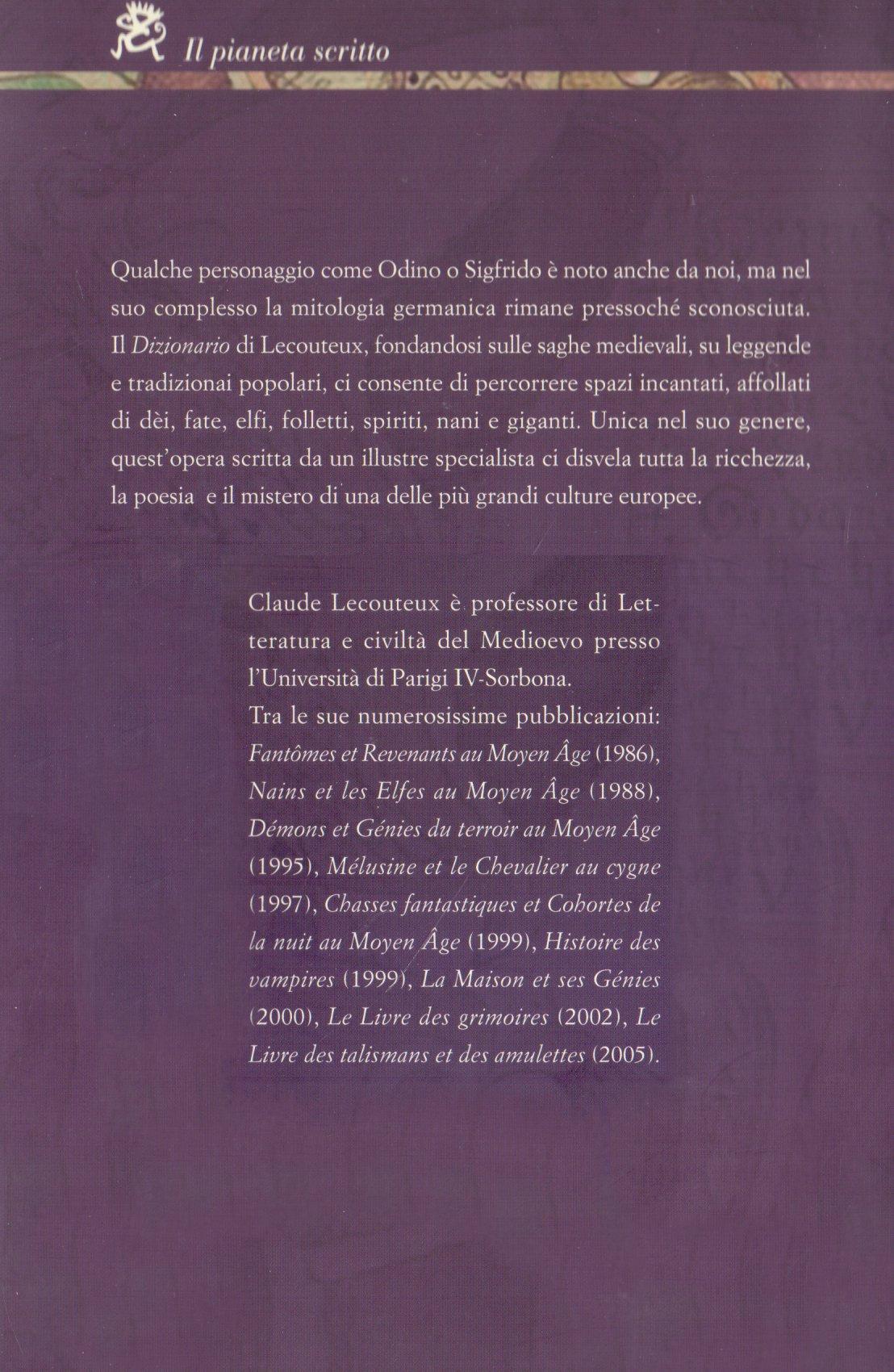 Dizionario di mitologia germanica.