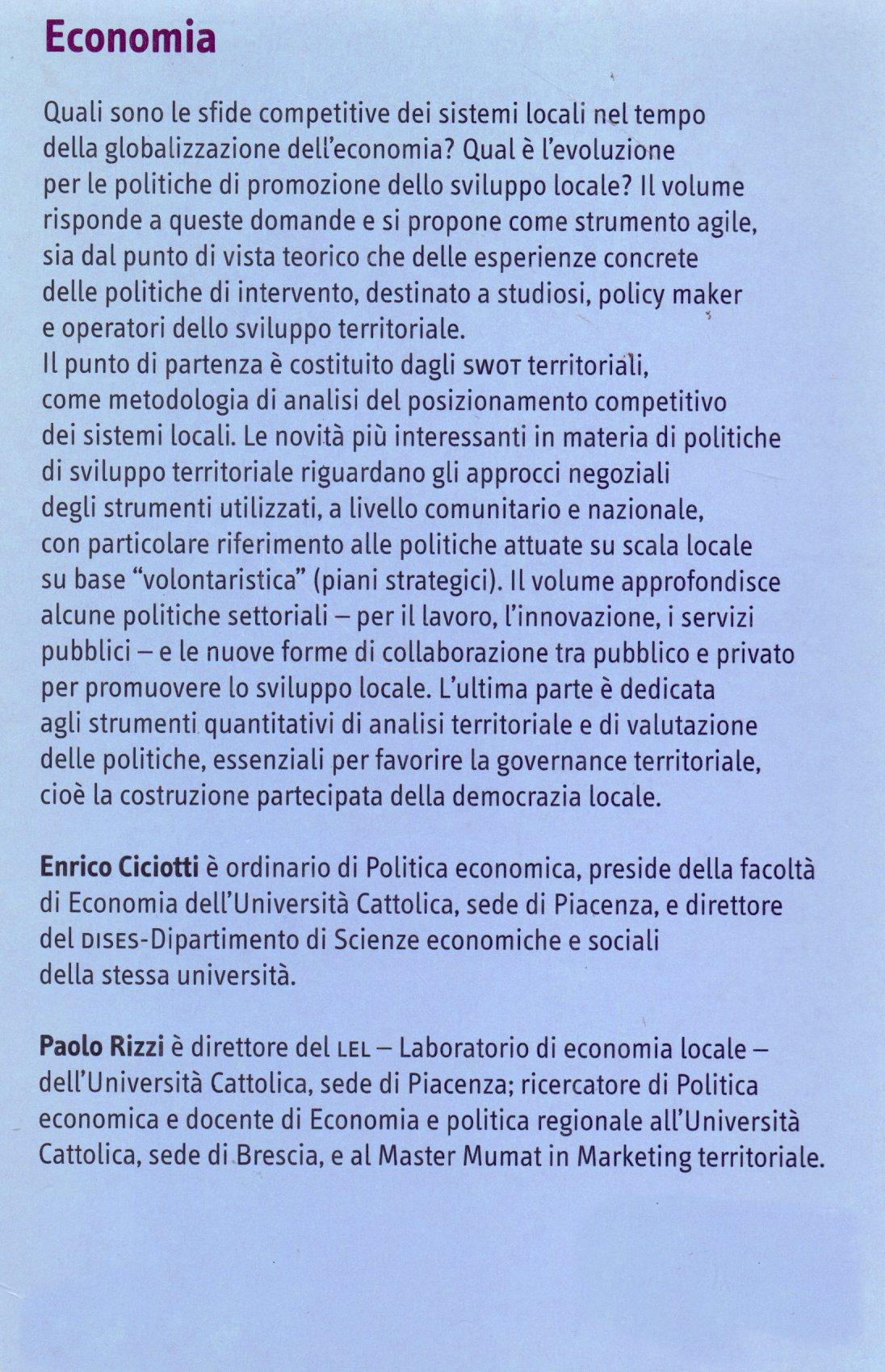 Politiche per lo sviluppo territoriale.
