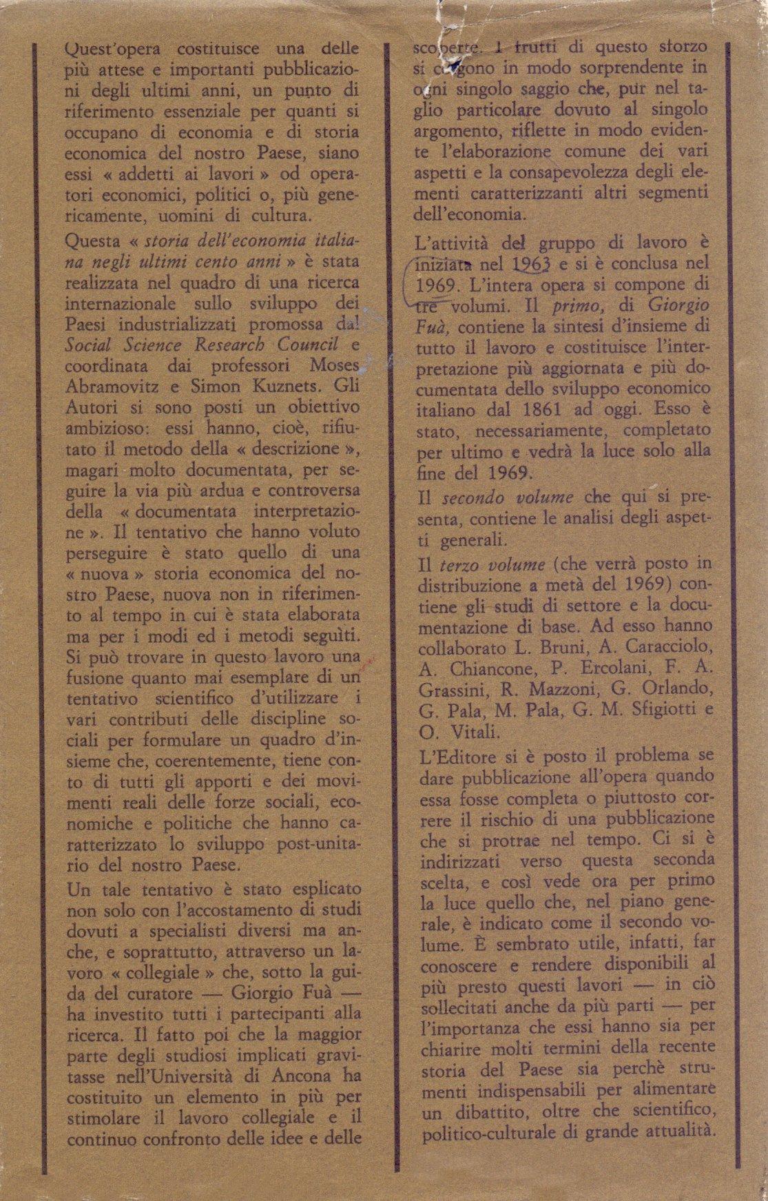 Lo sviluppo economico in Italia. 2: Gli aspetti generali.