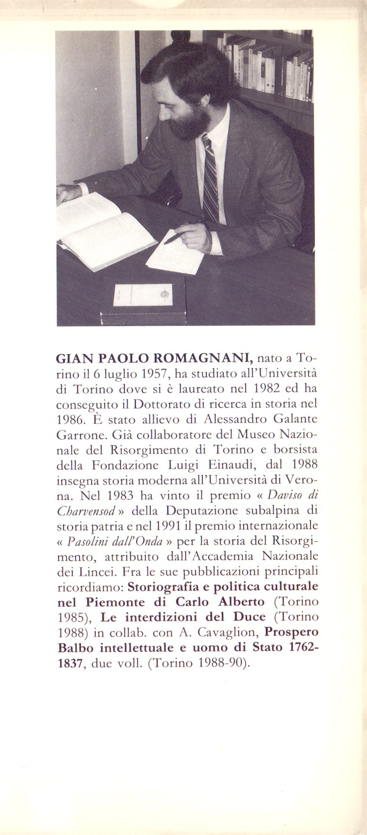 Vincenzo Gioberti, Agostino Chiodo, Gabriele De Launay, Massimo d'Azeglio.