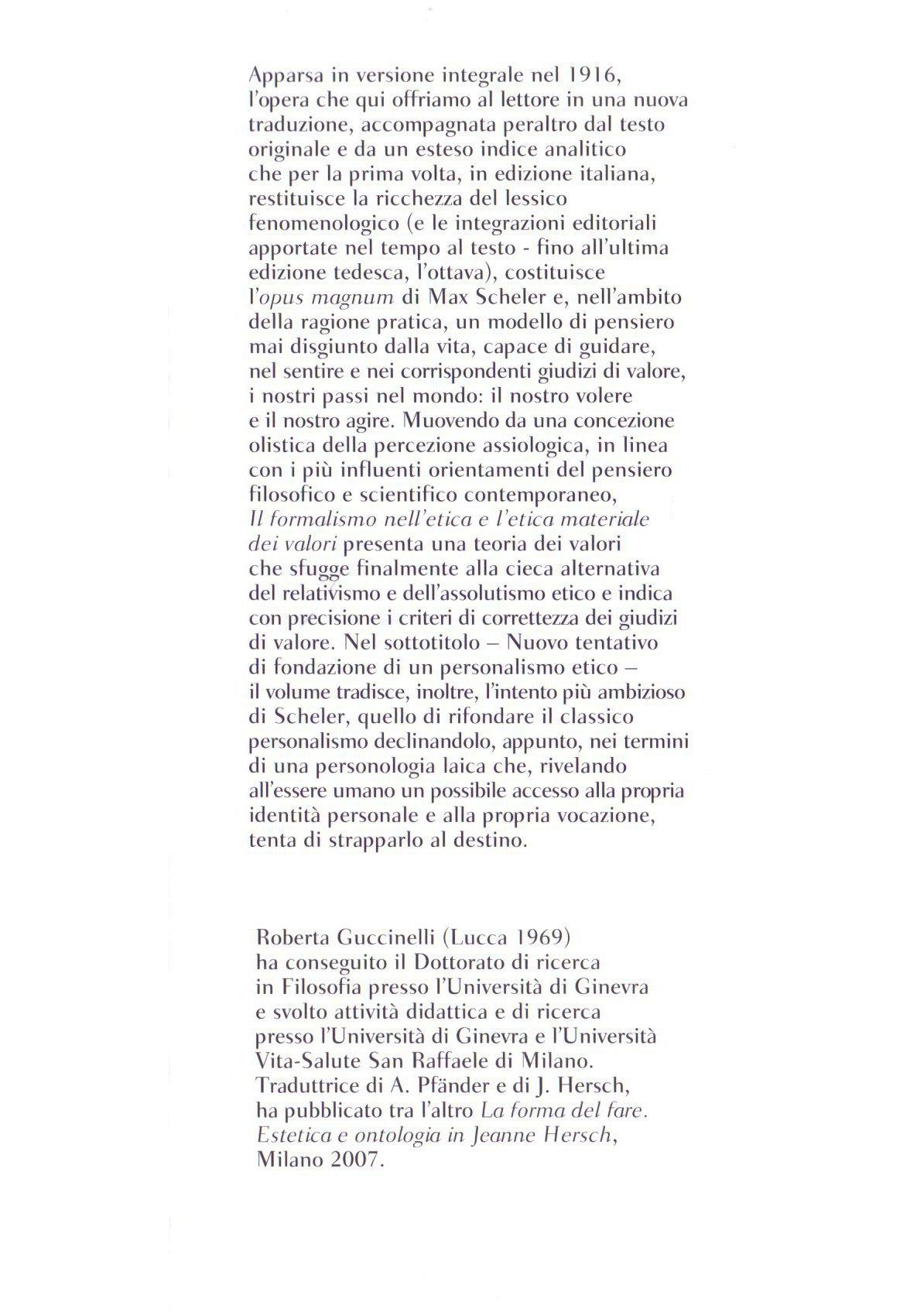 Il formalismo nell'etica e l'etica materiale dei valori.