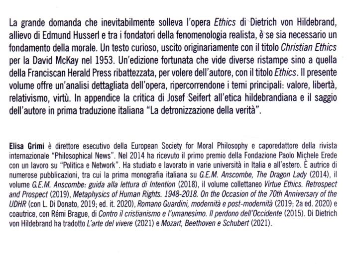 Epistemologia della morale nel pensiero di Dietrich Von Hildebrand.