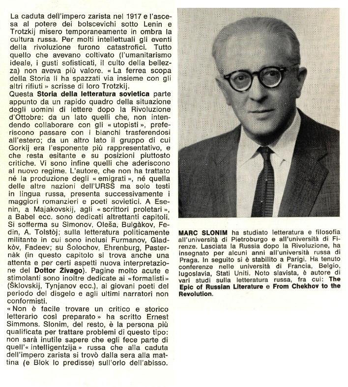 STORIA DELLA LETTERATURA SOVIETICA.