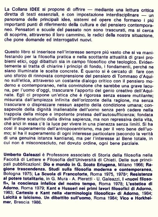 L'etica filosofica in Tommaso d'Aquino.