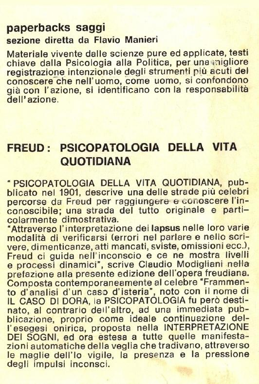 Psicopatologia della vita quotidiana.